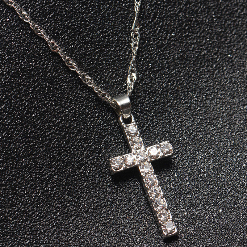 Silver Crystal Studded Cross Necklace