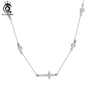 Sideways Dazzling Cross Necklace
