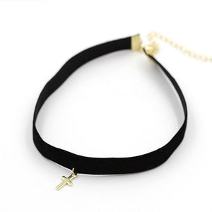 Choker Style Cross Necklace With Small Gold Cross For Women