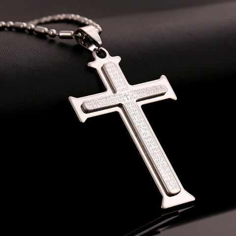 Layered Spanish Prayer Cross Necklace in Silver