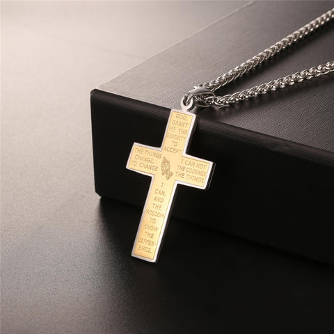 Double Sided Prayer Gold Color Square Edge Stainless Steel Cross Necklace