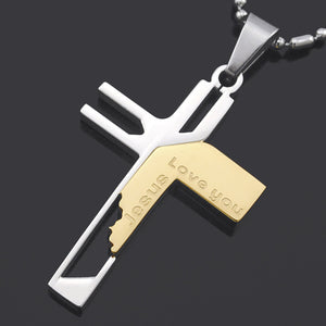 Love You Jesus Cutout Edge Stainless Steel Cross Necklace in Black, Silver, Gold or Blue Colors