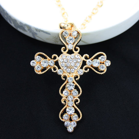 Crystals on Cross Necklaces