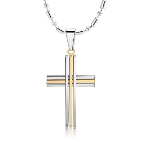 Two Tone Triple Line Square Edge Cross Necklace in Gold-Silver or Black-Silver