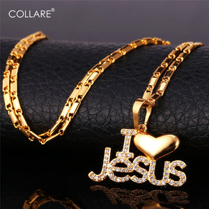I Love Jesus Cubic Zirconia Packed Necklace for Women or Men in Gold Color or Silver Color