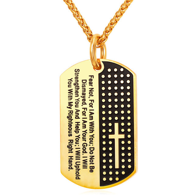 Stainless Steel Isaiah 41:10 Fear Not Dog Tag Pendant-Necklace-Engraving Avail.