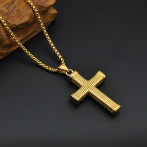 Square Edge Chunky Textured Classic Gold Color Stainless Steel Cross Necklace