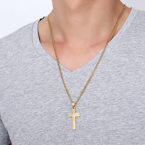 Classic Simple Medium Sized Square Edge Stainless Steel Cross Necklace in Gold, Silver or Black