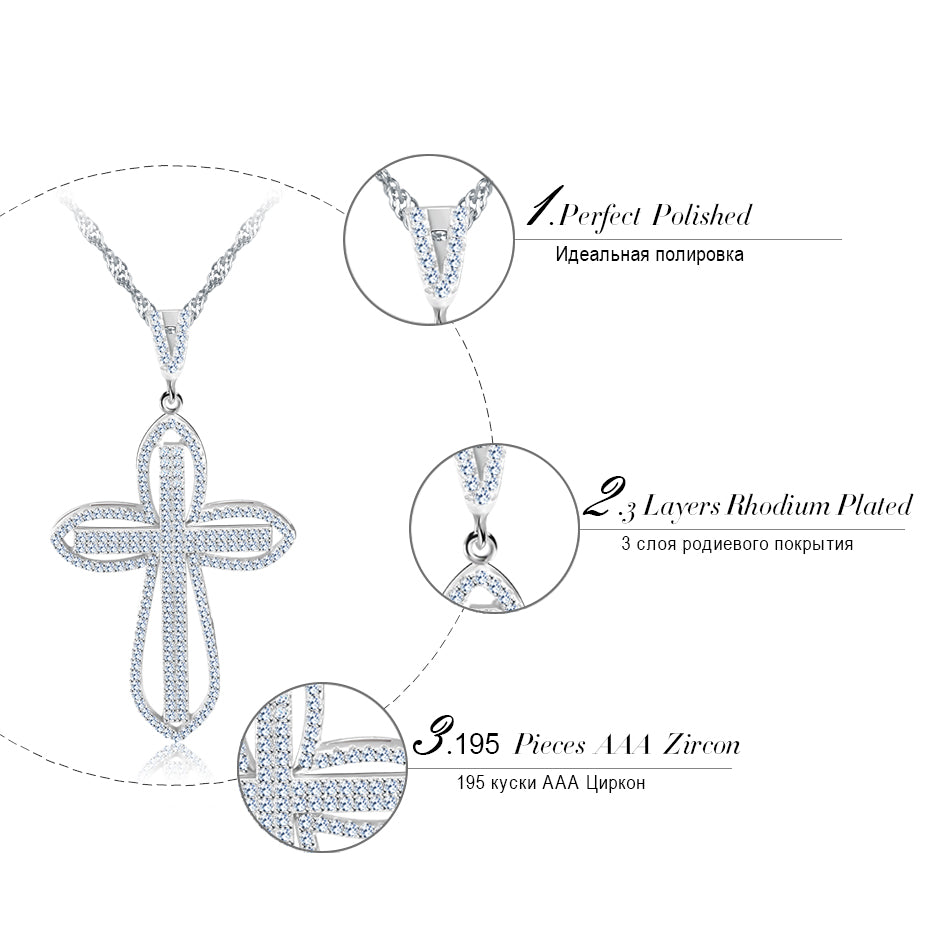 Luxury Cubic Zirconia Silver Color Charming Cross Necklace