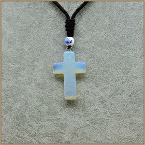 Natural Crystal Gemstone Reiki Cross Necklace