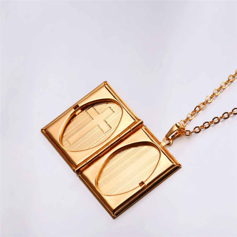 Memory Photo Locket Oval Inner Insert Holy Bible Styling Sunshine Corner Alloy Cross Necklace