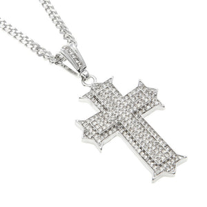 Big Hip-Hop Star Rhinestone Packed Etched Out Cross Necklace