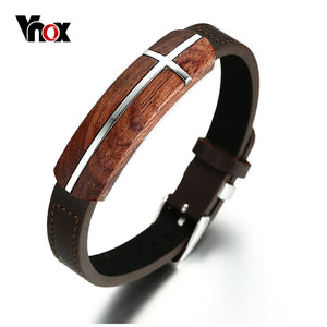 Vnox Rosewood Cross Bracelet with Genuine Leather