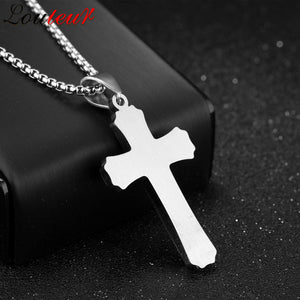 Triple Layered Two Tone Color Stainless Steel Knight Cross Necklace
