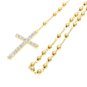 Micro Square Imitated  Red Stone Gold Pendant Necklace With Cross Bead Chain Iced Out Pendant Hip Hop Men Women Necklace