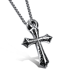 Punk Style Stainless Steel Cross Necklace