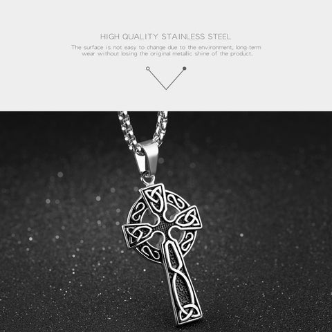 Celtic Stainless Steel Cross Necklace in Silver or Gold