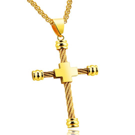 Round Edge Wire Build Rope Chain Cross Necklace in Gold or Silver
