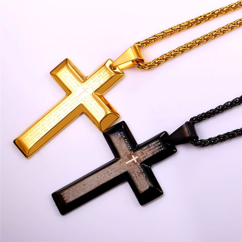 Classic Big Prayer Beveled Square Edge Stainless Steel Lord's Prayer Cross Necklace