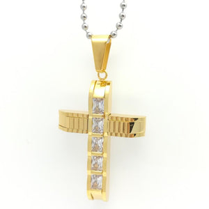 Cubic Zirconia Inlaid Crystals Ridged Arm Stainless Steel Cross Necklace