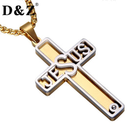 Two Tone Jesus Name in Stainless Steel and Gold Plated Cross Necklace