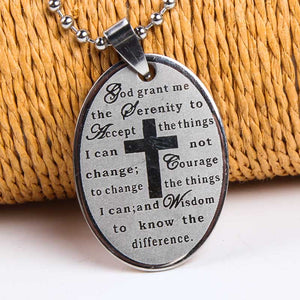 Oval Serenity Prayer Stainless Steel Cross Necklace