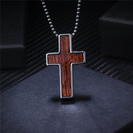 New Natural Wood Design Tungsten Cross Necklace Stainless Steel Edge