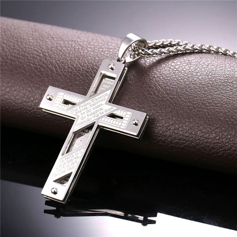 Lord's Prayer Patterned Square Edge Stainless Steel Cross Necklace in Gold or Silver
