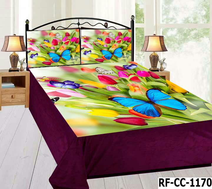 Digital Velvet Bedsheet - Colorful Butterflies