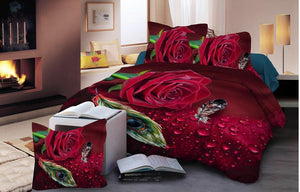 Peacock Feather and Roses Glace Cotton Bedsheet