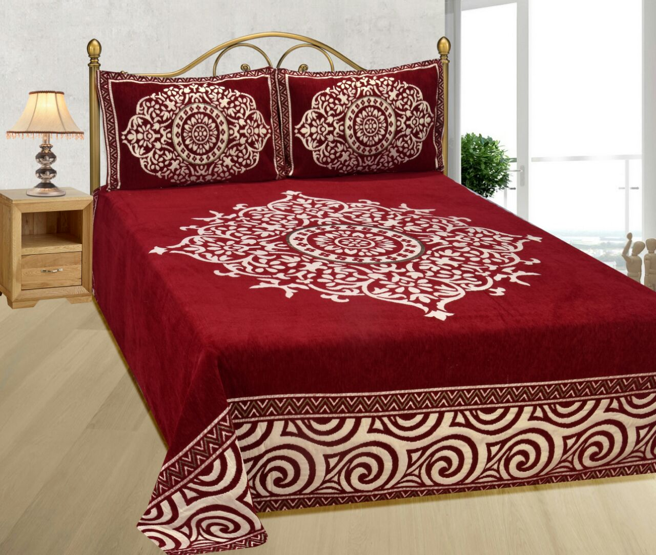 Medieval Royal Arts Heavy Chenille Bedcover- Luxury Red