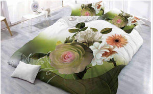 White & Green Floral Glace Cotton Bedsheet
