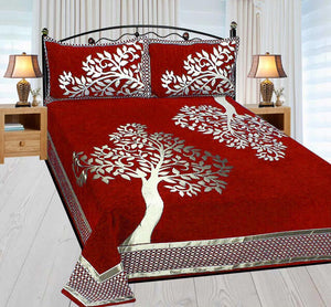 Magic Tree Royal Heavy Chenille Bedcovers Red