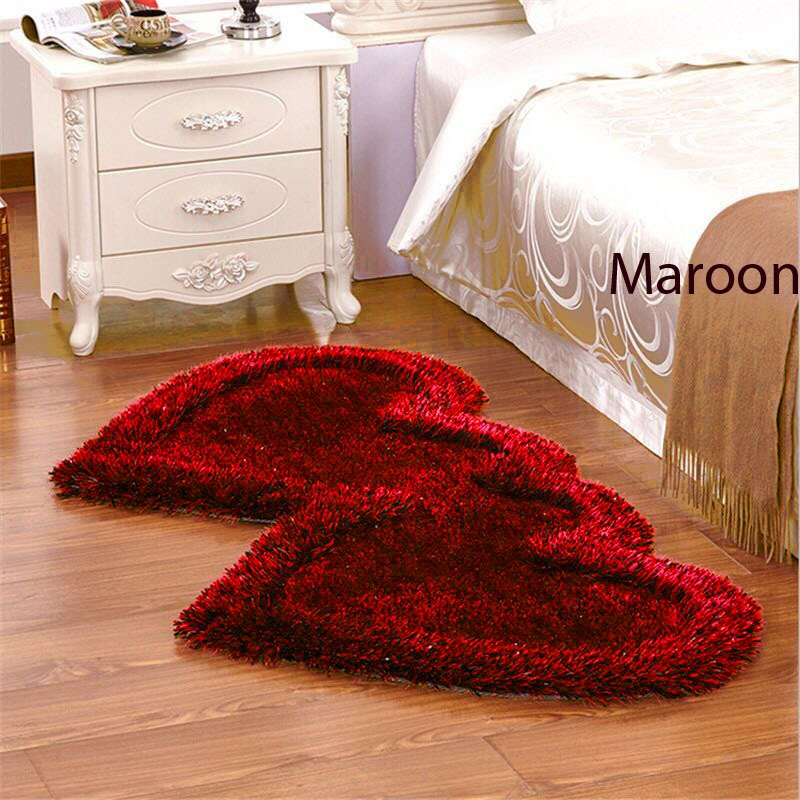 Twin Heart Bedside Runners - Maroon Color