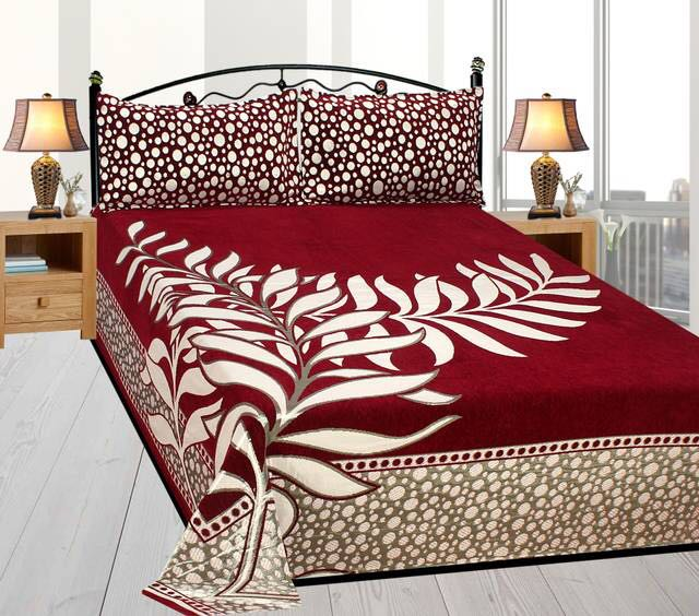 Law of Nature Royal Heavy Chenille Bedcovers - Dark Red