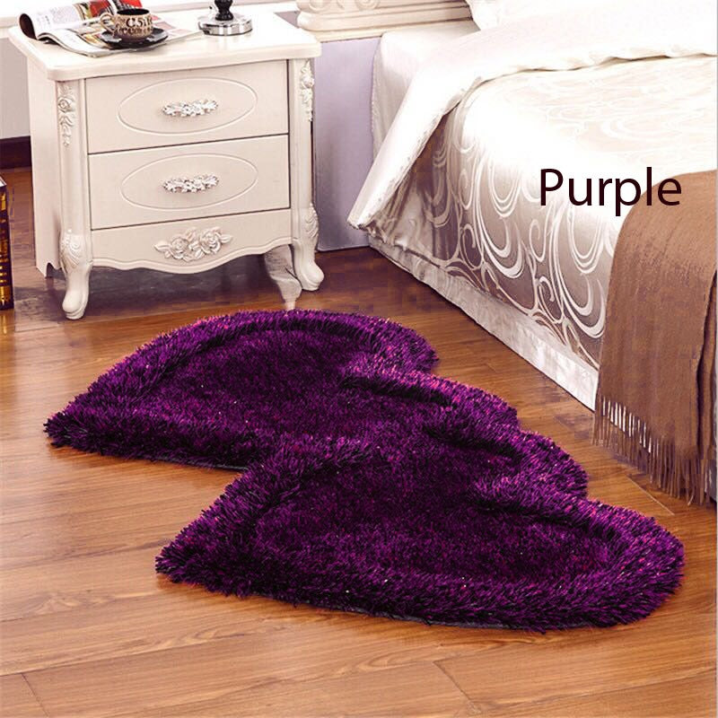 Twin Heart Bedside Runners - Purple Color