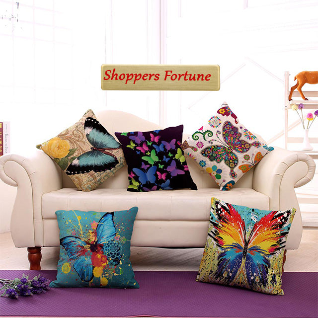 Finesse of Butterfly Jute Cushion Covers(5 Piece Set) Special Edition