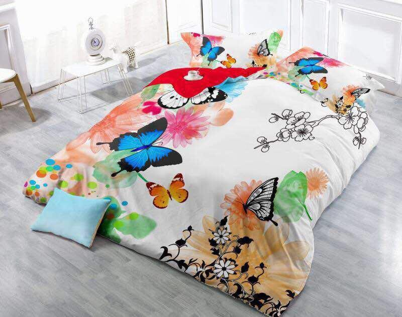 World of Colourful Butterflies Glace Cotton Bedsheet
