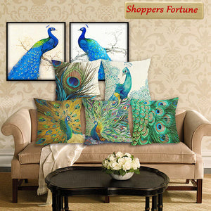 Peacock Crew Jute Cushion Covers(5 Piece Set) Special Edition