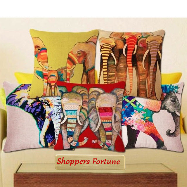 Elephant Art Jute Cushion Covers(5 Piece Set) Special Edition