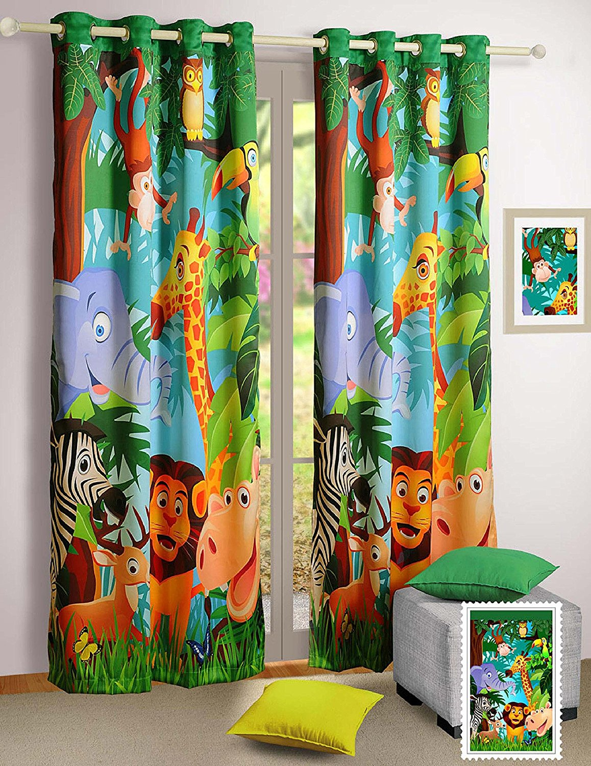 Digital Heavy Long Crush Curtains - Jungle Paradise