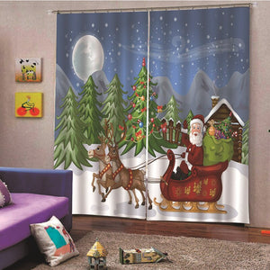 Christmas Theme Blackout Curtains - Jingle all the Way(Set of 2)