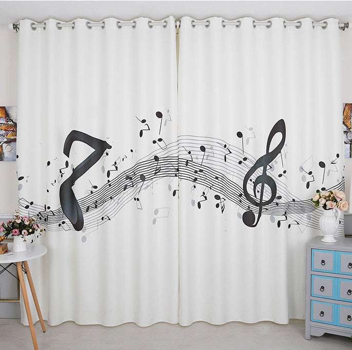 Classic Vintage Style Premium Blackout Curtains - Musical Notes(Set of 2)