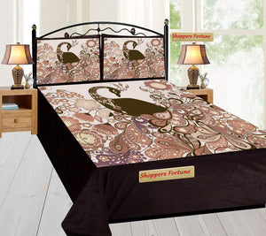 Digital Print Velvet Bedsheet - Black Peacock