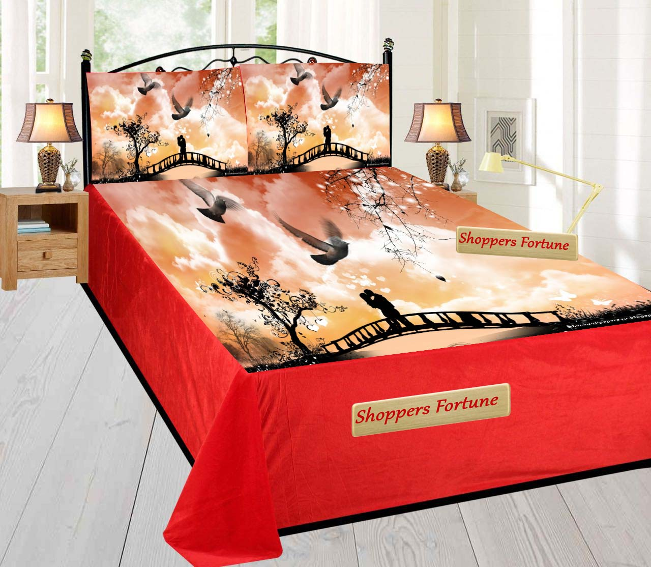 Digital Print Velvet Bedsheet - Couple in Dreamland