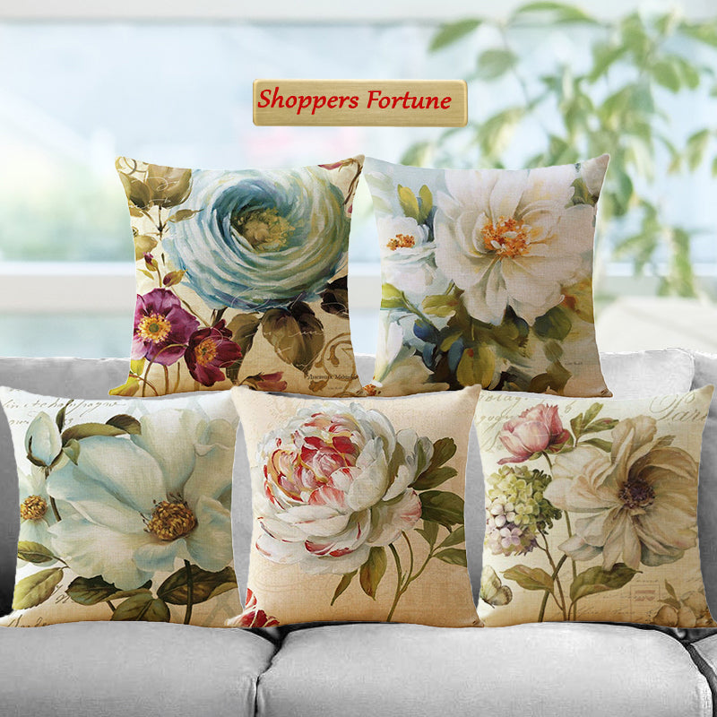 Eloquent Flowers Jute Cushion Covers - 5 Piece/Set