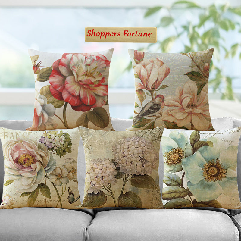 Flora of Spring Jute Cushion Covers - 5 Piece/Set
