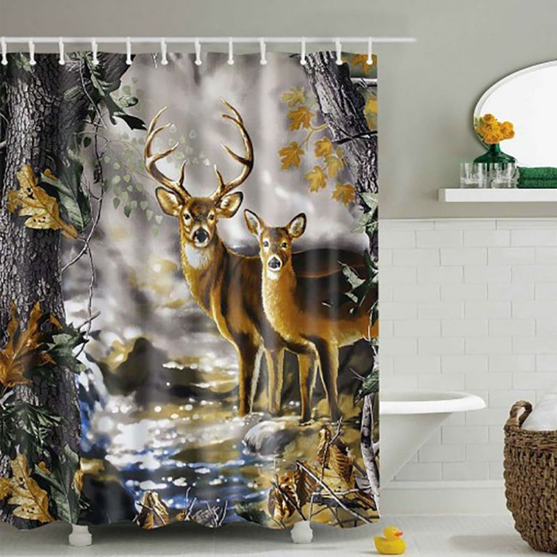 Digital Heavy Long Crush Curtains - Deer in My House