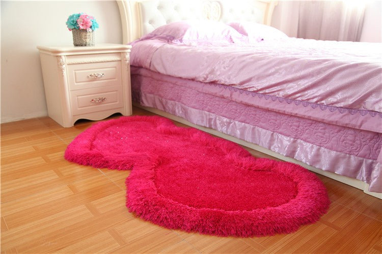 Twin Heart Bedside Runners - Ruby Pink Color