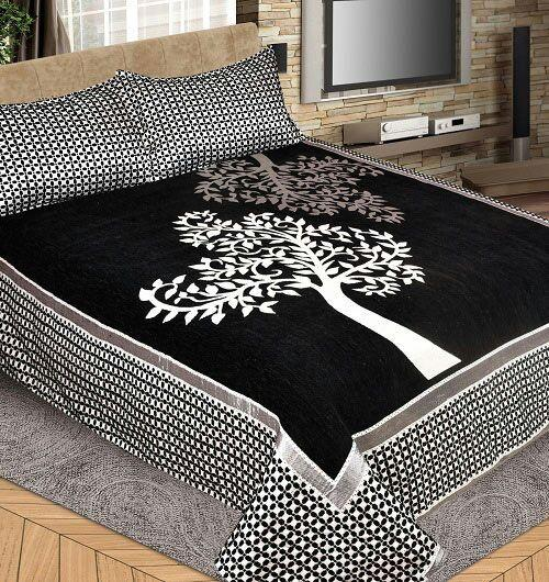 Magic Tree Royal Heavy Chenille Bedcovers Black